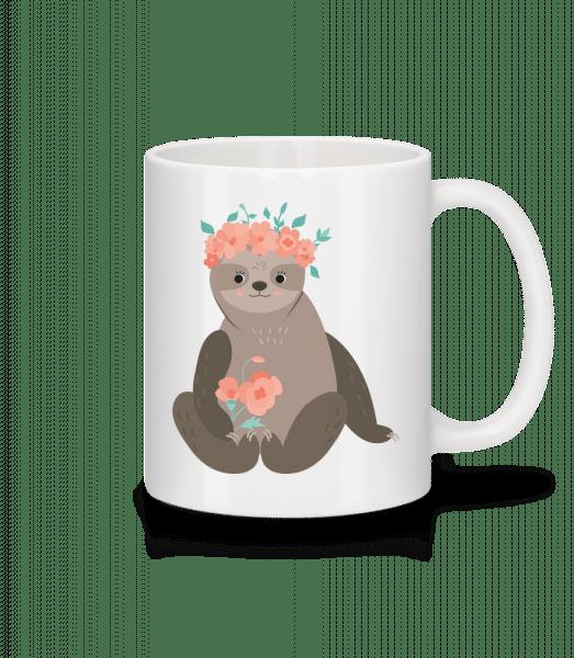 Sloth With Flowers - Mug - White - Vorn