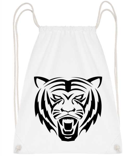 Tiger Head - Drawstring Backpack - White - Vorn
