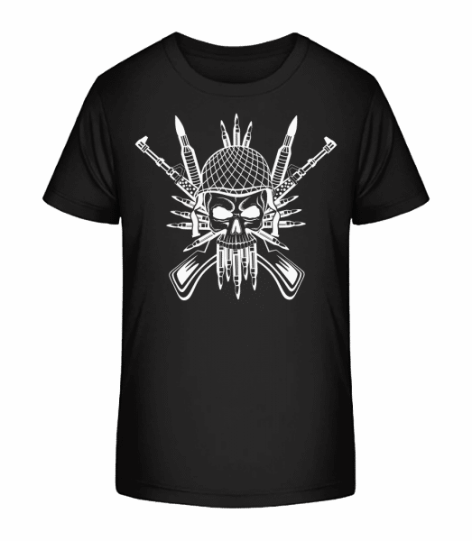 Soldier Skull Tattoo - Kid's Premium Bio T-Shirt - Black - Vorn