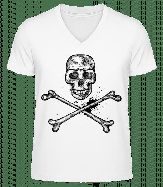lebka Comic - Pánske bio tričko s V-výstrihom - Biela - Predné
