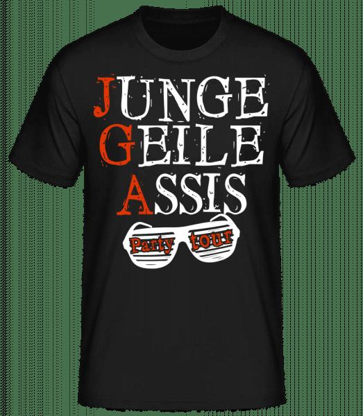 Junge Geile Assis JGA - Männer Basic T-Shirt - Schwarz - Vorn