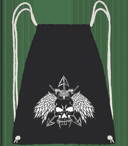 Owls Skull Tattoo - Drawstring Backpack - Black - Vorn