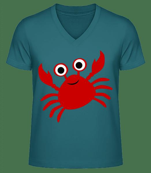 Crab - Men's V-Neck Organic T-Shirt - Petrol - Vorn