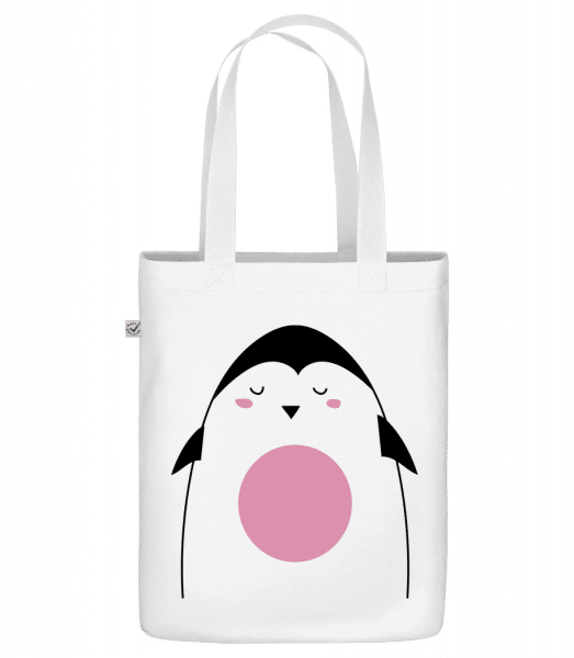 """Cute Penguin - Organic """"Earth Positive"""" tote bag - White - Front"""
