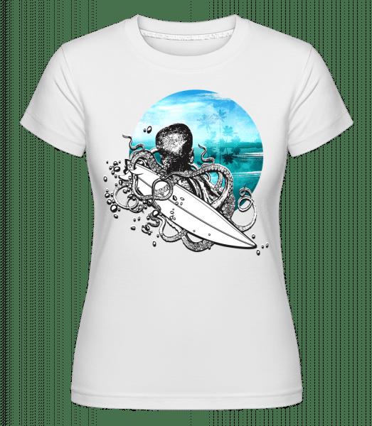 Surfer Octopus -  Shirtinator Women's T-Shirt - White - Front