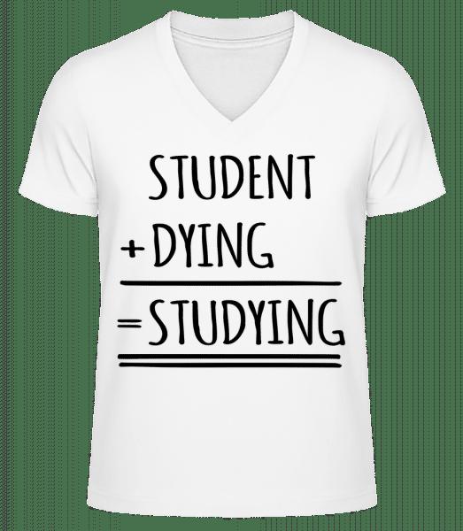 študovať Definition - Pánske bio tričko s V-výstrihom - Biela - Predné