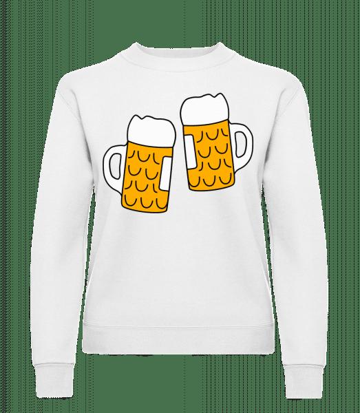 Two Beer - Classic Ladies' Set-In Sweatshirt - White - Vorn