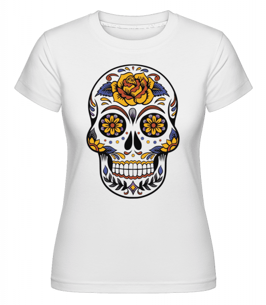 Dia De Los Muertos Skull -  Shirtinator Women's T-Shirt - White - Vorn