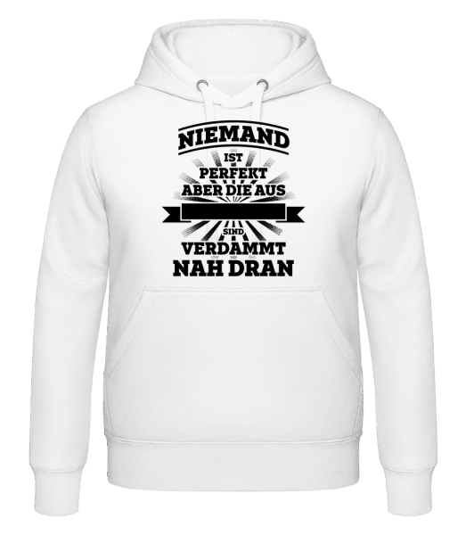 Niemand Ist Perfekt -  Kapuzenhoodie - Weiß - Vorn
