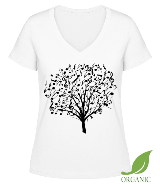 "Music Tree - ""Janet"" Organic V-Neck T-Shirt - White - Vorn"