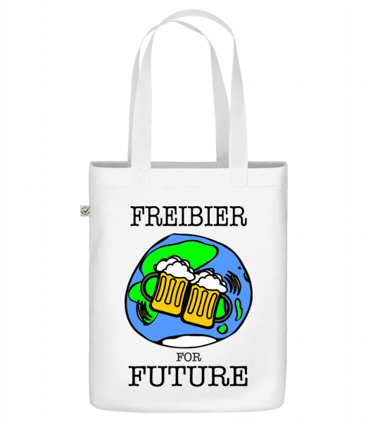 "Freibier For Future - Organic ""Earth Positive"" tote bag - White - Front"