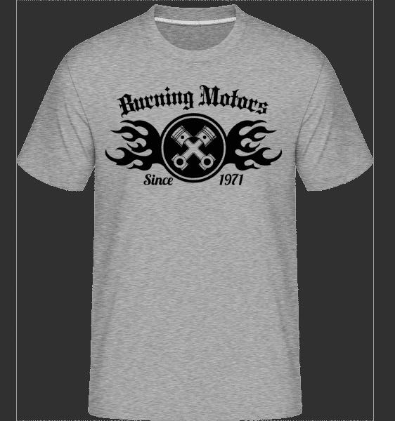 Burning Motors Biker -  T-Shirt Shirtinator homme - Gris bruyère - Vorn