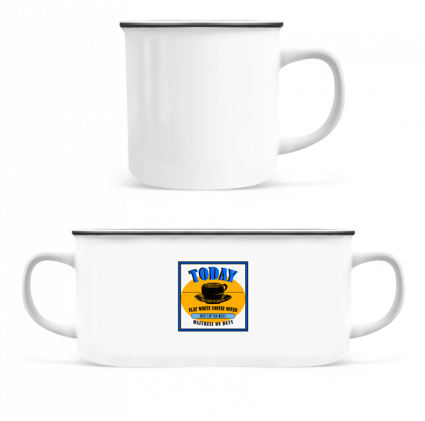 Flat White Coffee Offer - Enamel-cup - White - Vorn