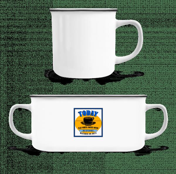 Flat White Coffee Offer - Emaille-Tasse - Weiß - Vorn