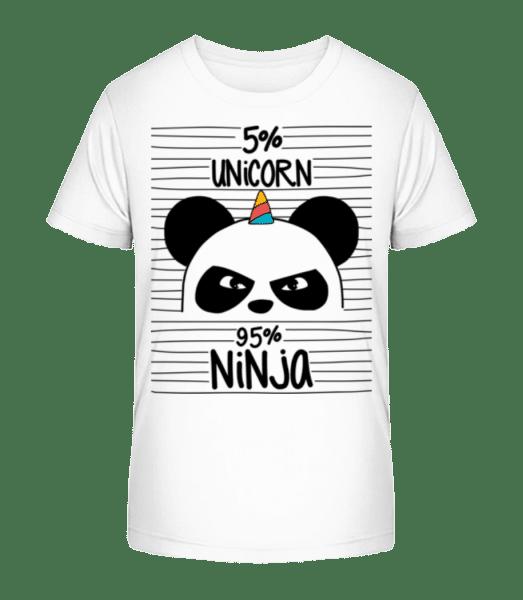 5% Unicorn 95% Ninja - Kid's Premium Bio T-Shirt - White - Vorn