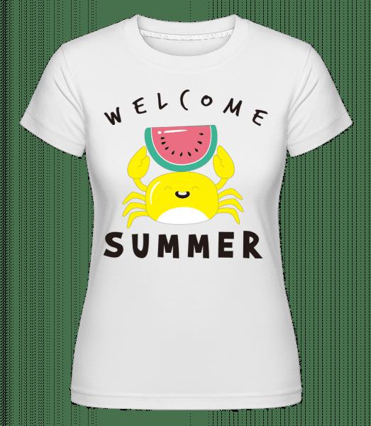 Vitajte letné krab -  Shirtinator tričko pre dámy - Biela - Predné