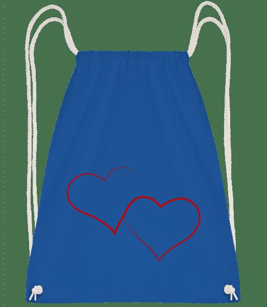 Two Hearts - Drawstring batoh se šňůrkami - Královská modrá - Napřed