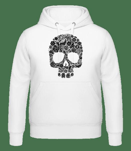 Flower Skull - Hoodie - White - Vorn