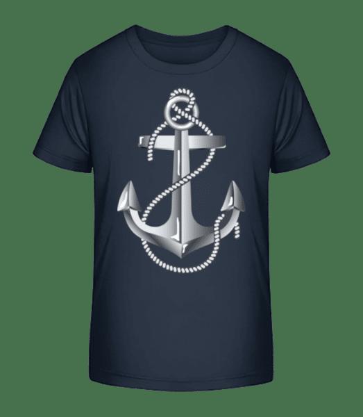 Anchor Rope Comic Silver - Kid's Premium Bio T-Shirt - Navy - Front