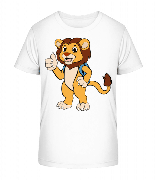 Cute Lion With Bag - Kid's Premium Bio T-Shirt - White - Vorn