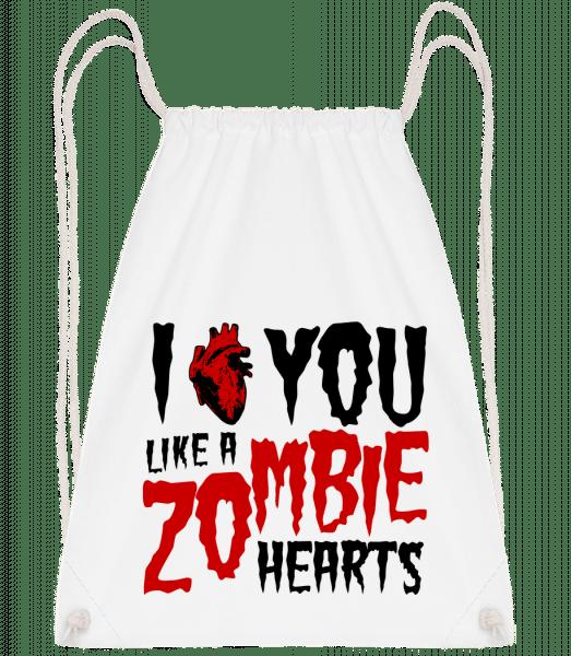 I Like You Like A Zombie Hearts - Drawstring Backpack - White - Vorn
