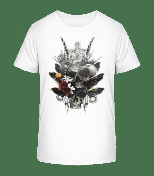 Feather Skulls - Kid's Premium Bio T-Shirt - White - Vorn